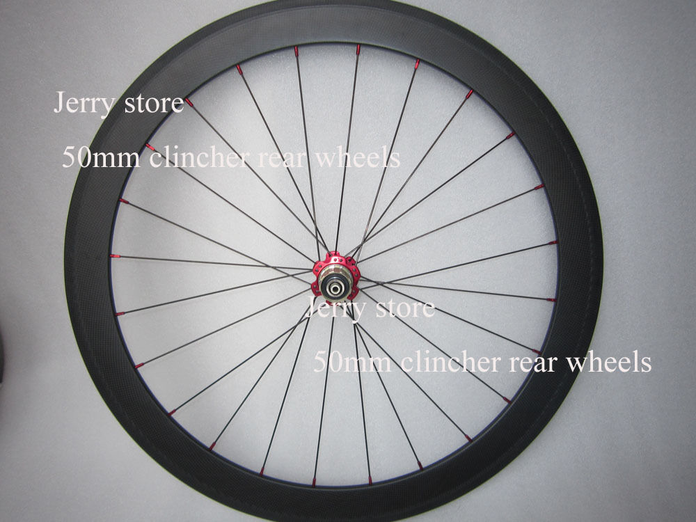 Only rear wheel 50mm clincher,carbon fiber bike wheelset 700c 25mm width