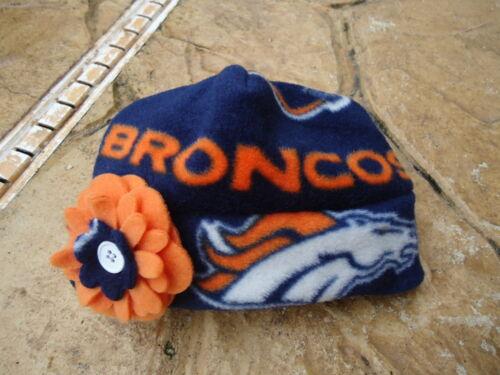 Children Adult women Denver Broncos Fleece Flower Hat Sizes Newborn Baby Girls
