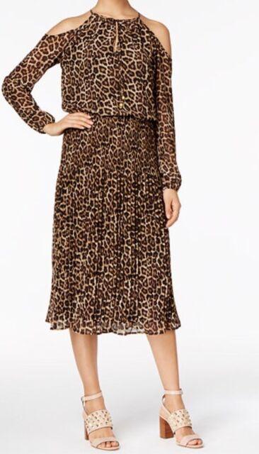 5f4590cf0a MICHAEL Michael Kors Animal-Print Cold-Shoulder Dress. Size M.  175.00