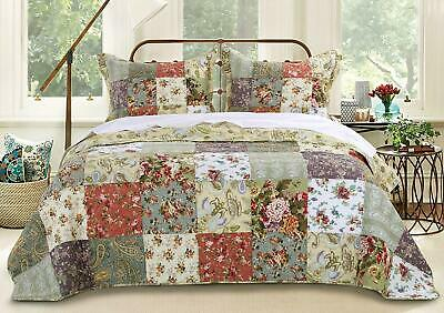 BEAUTIFUL XXL REVERSIBLE ANTIQUE BLUE PURPLE GREEN PATCHWORK KING BEDSPREAD SET