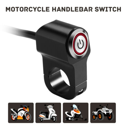 """Motorcycle 7//8/"""" 22mm Handlebar Switch Engine Electric Start Horn Push Button CNC"""