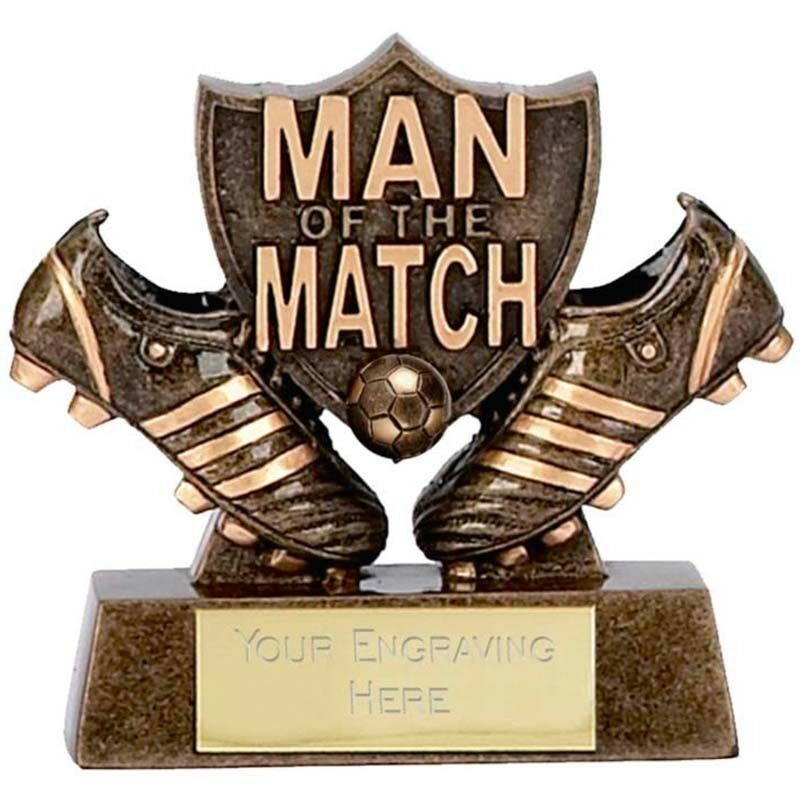 10 x man OF the Match Trophies FOTOTALL RESIN SOCCER BOTS SHIELD GRATIS