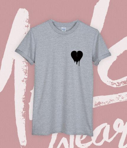 BLACK HEART T SHIRT HEARTBROKEN NEW POCKET TEE TUMBLR MEMORIAL TRIBUTE