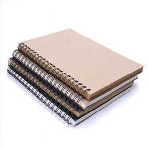 Retro Spiral Bound Coil Sketch Book Blank Notebook Kraft Sketching Paper