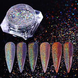 0-5g-Nagel-Glitzer-Pulver-Holographic-Nail-Art-Glanz-Regenbogen-Chrom-Pigment