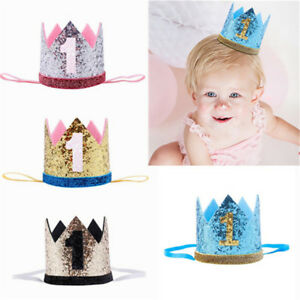 Image Is Loading Glitter Baby Boy Girl 1st Birthday Crown Party
