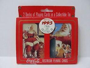 Vintage-Playing-Cards-Coca-Cola-Nostalgia-334-Double-Deck-Santa-Sealed-1995-USA