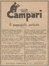 Z0934 Campari - Poesia - Il pappagallo parlante - Pubblicità del 1926 - Advert.