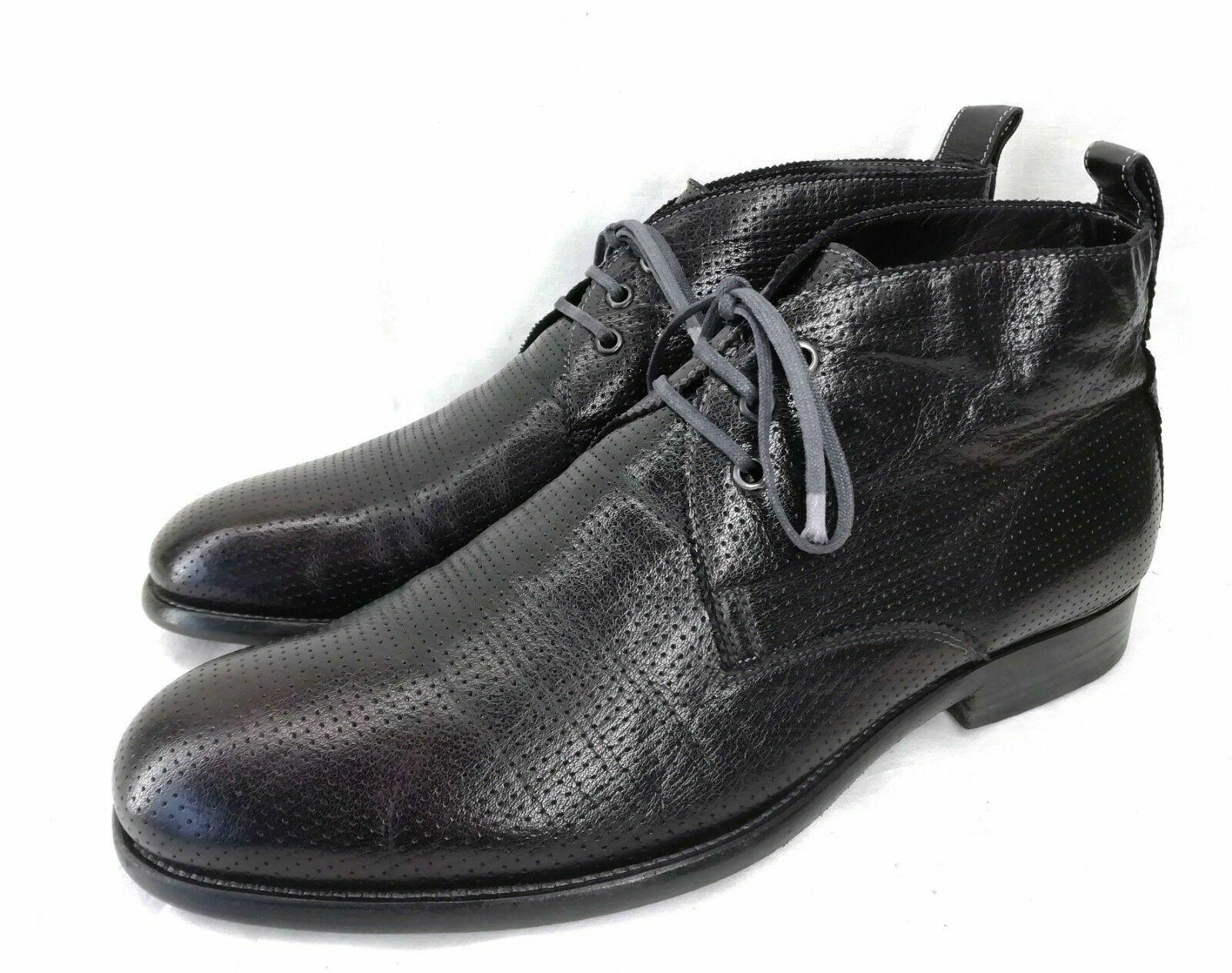 rotwood Hikon Chukka Stiefel Stiefeletten Schwarz Gelöchert Leder Gr. 43 43,5 WEIT    | Smart