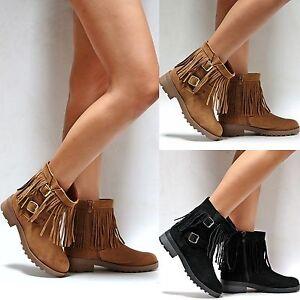 fd18d8748484 New Women FDay Black Tan Fringe Vegan Suede Western Ankle Booties ...