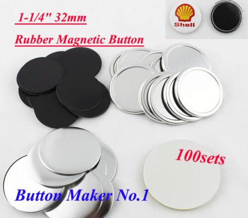 "100sets Freezer Sticker1-1//4/"" 32mm Rubber Magnetic Badge Button Make Hot sale!!!"