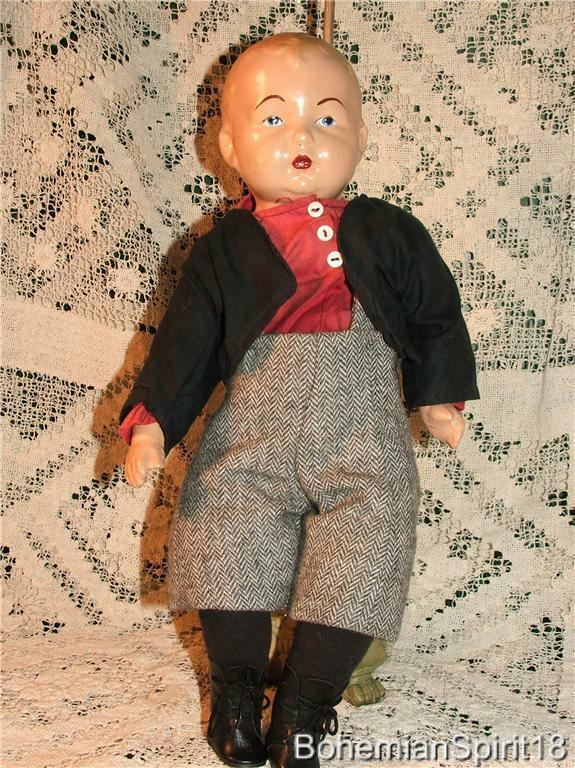 ANTIQUE SIGNED HORSMAN PRE 1930's COMPOSITION DOUBLE JOINTED RESTorosso  BOY DOLL