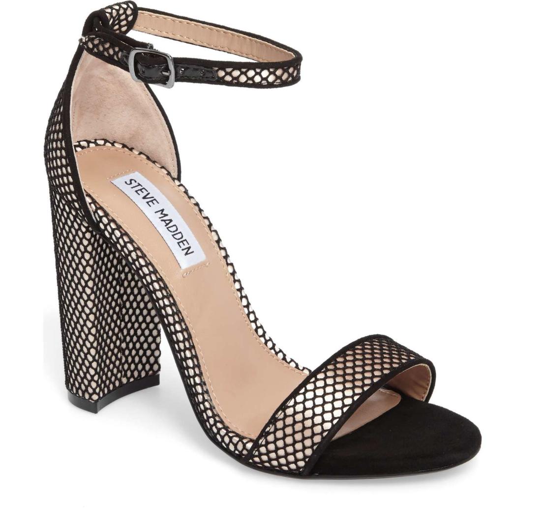 Steve Madden Carrson Women's Black Block Heel Ankle Strap Sandals Sz 7M 4677