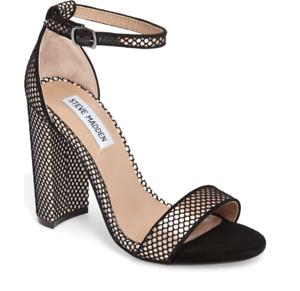 ba90fec9d7a Steve Madden Carrson Women s Black Block Heel Ankle Strap Sandals Sz ...