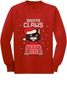 9757fa308eb4b5 Image is loading Santa-Claws-Ugly-Christmas-Sweater-Cat-Toddler-Kids-