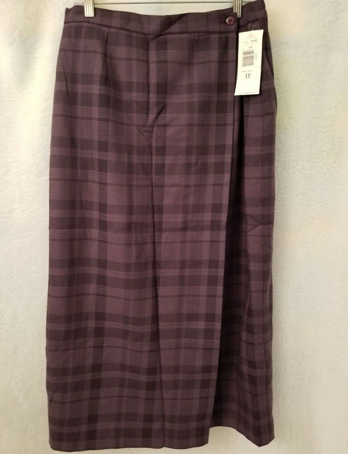 TanJay NWT Womens Light Dark Purple Plaid Lined Wrap Around LOOK Skirt Size 12