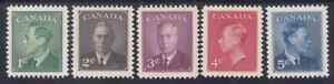 Canada-289-93-MNH-1950-KG-034-POSTES-POSTAGE-034-Omitted-Set-VeryFine