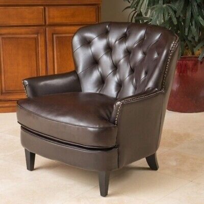 Brown Leather Club Chair Tufted Accent Chair Arm Chairs Armchair Living  Room NEW | eBay