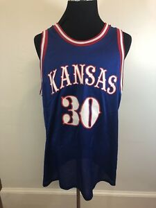 best service 11af6 0bcba Details about Vintage Kansas Jayhawks basketball jersey men's Size XL blue  #30