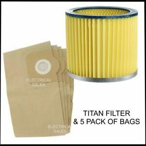 Fits Titan TTB430VAC 1400W 30Ltr Wet & Dry Vacuum Cleaner 240V Filter & 5 Bags
