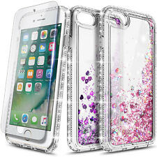 For iPhone 6 6s 7 8 Plus Case Liquid Glitter Bling Clear Cover +Screen Protector