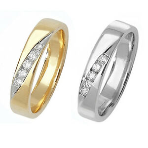 Details About Diamond Set 9ct Gold Wedding Band Yellow Or White Gold Hallmarked