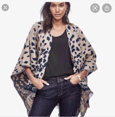 Ann Taylor Blue Leopard Print Cape Blue Wool Acryl