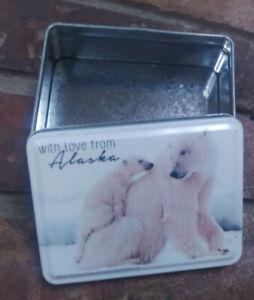 Alaska-Tin-Box-Polar-Bear-with-her-cub-With-love-from-Alaska-NICE-4x3-inches
