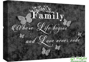 Family Quote Life Black White Canvas Wall Art Picture Print