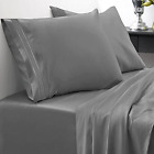 King Size 4 Piece 1500 Thread Count Egyptian Quality Bed Sheet Set Gray Sweet