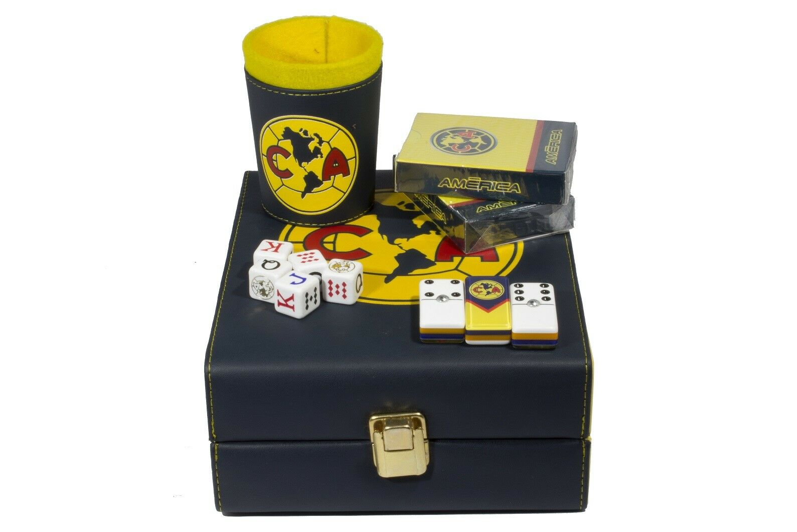 Aguilas Club America Deluxe Set 3 Games: Domino, Dice Cup, 2 Poker Cards