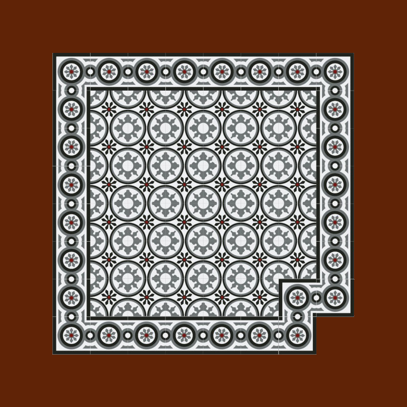 1m² echte Zementfliesen Boden Wand - mediterrane Fliesen buntes Dekor Radia 1538