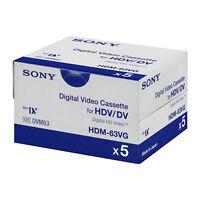 5 Sony Hd Hdv Mini Dv Tape Hdm-63vg For Hdr Hc9 Fx1 Fx7 Z7 Fx1000 Z7u Camcorder