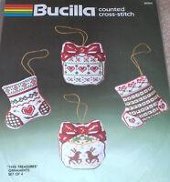 1986 Bucilla Christmas tree Treasures Cross Stitch Ornaments Kit - Reindeer+