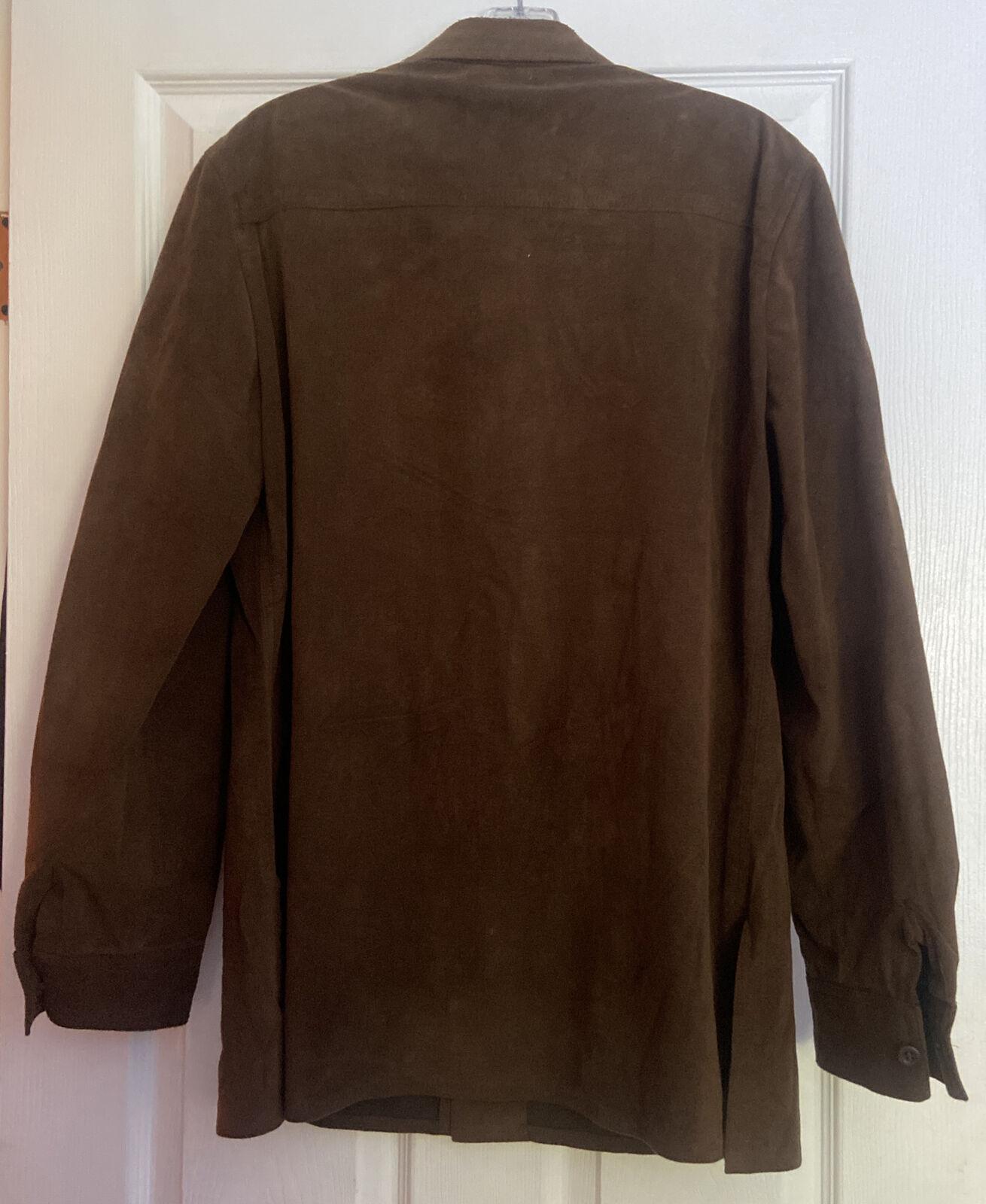 vintage Halston ultrasuede shirt jacket 40R brown… - image 4