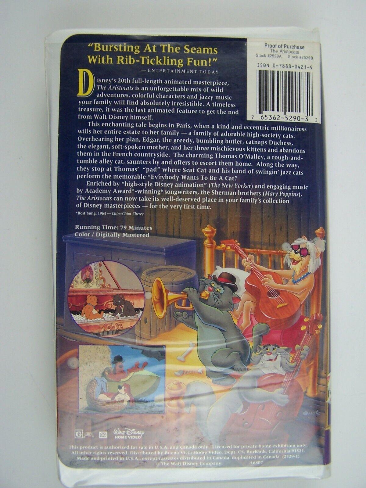 Walt Disney The Aristocats VHS Clamshell Eva Gabor, Ste