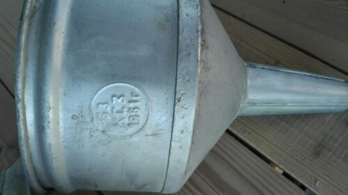 Large Vintage Metal Tin Oil Gas Fuel Funnel Industrial Lamp Shade Steampunk 60s