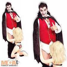 Down for The Count Vampire Fancy Dress Mens Halloween Adult Dracula Stag Costume
