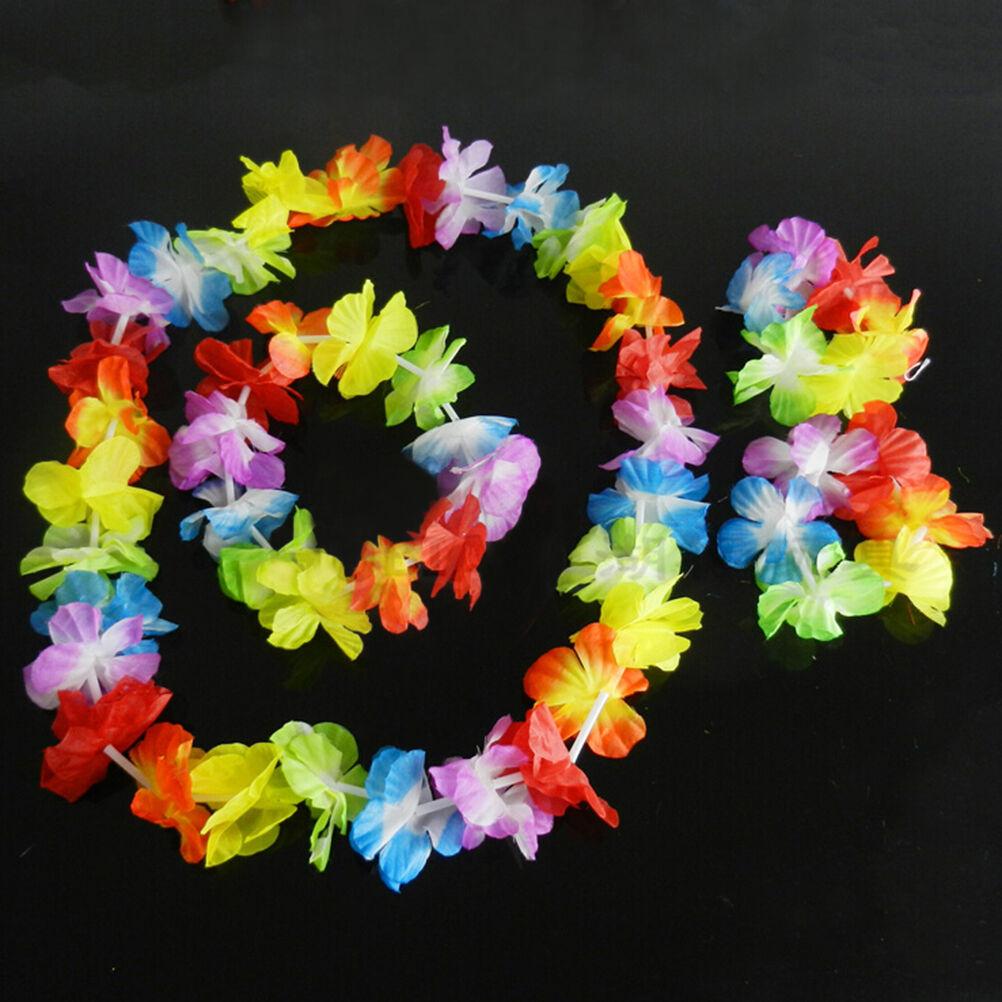 4x Hawaiian Tropical Hula Luau Grass Dance Head Neck Wrist Garland DSU_hg U/