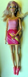 Barbie-doll-Blonde-hair-with-pink-highlight-earrings-new-shoes-barbie-dress