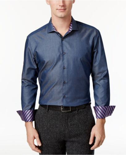 $277 MICHELSONS LONDON Men SLIM-FIT BLUE WHITE LONG-SLEEVE BUTTON DRESS SHIRT L