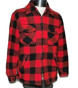 Cal-Craft-Vintage-Wool-Jacket-Sherpa-Lined-Full-Zip-Plaid-Lumberjack-Size-M
