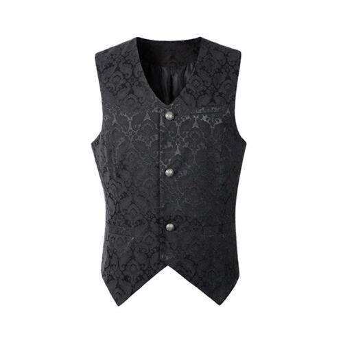 Men/'s Tank Top Steampunk Vest Jacket Sleeveless Gothic Vest Cosplay Stage h8