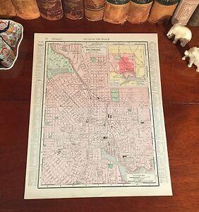 Original 1898 Antique Map BALTIMORE Maryland MD Streets Parks Historic Landmarks