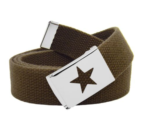 Girl/'s Star Silver Flip Top School Uniform Buckle w// Adjustable Canvas Web Belt