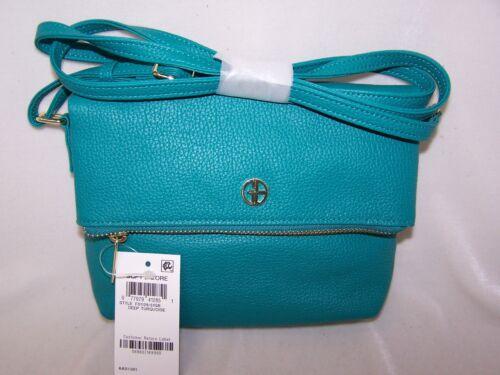 Giani Bernini Handbag NWT Pebble Leather Zipper Flap Deep Turquoise Crossbody