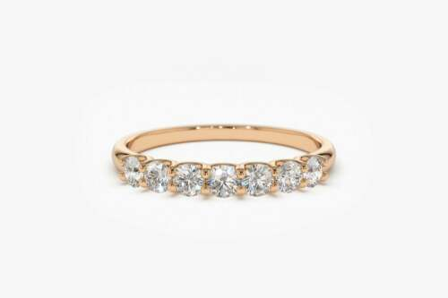 Diamant Memory Ring 7 Brillanten 0,42 Carat in 585er 14 K Gold IGL alle Größen
