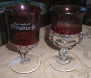 2 Eapg Pittsburg No H Pa Souvenir Ruby Stained Goblets Kings