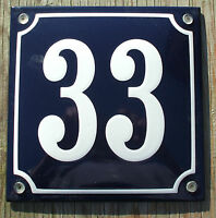French Enamel House Number Sign. White No.33 On A Blue Background 16x16cm.