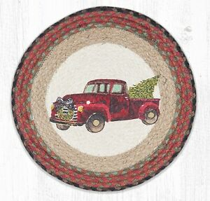 Vintage Red Truck Christmas Placemats.Details About Red Christmas Truck 100 Natural Braided Jute Placemat 15 Round By Earth Rugs